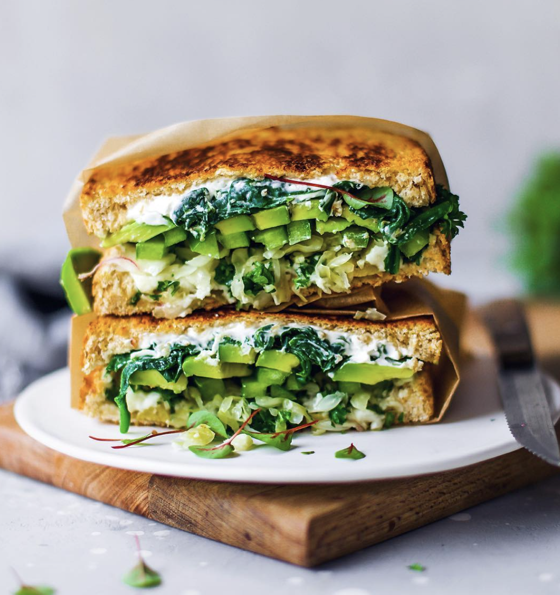 Spinach, 'Feta' and Avocado Sandwich