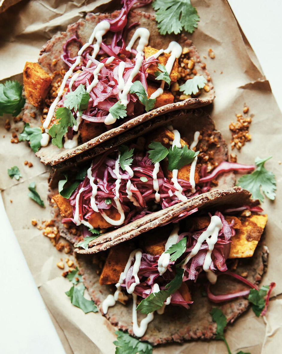 Sweet Potato Pecan Tacos with Cashew Sour Cream