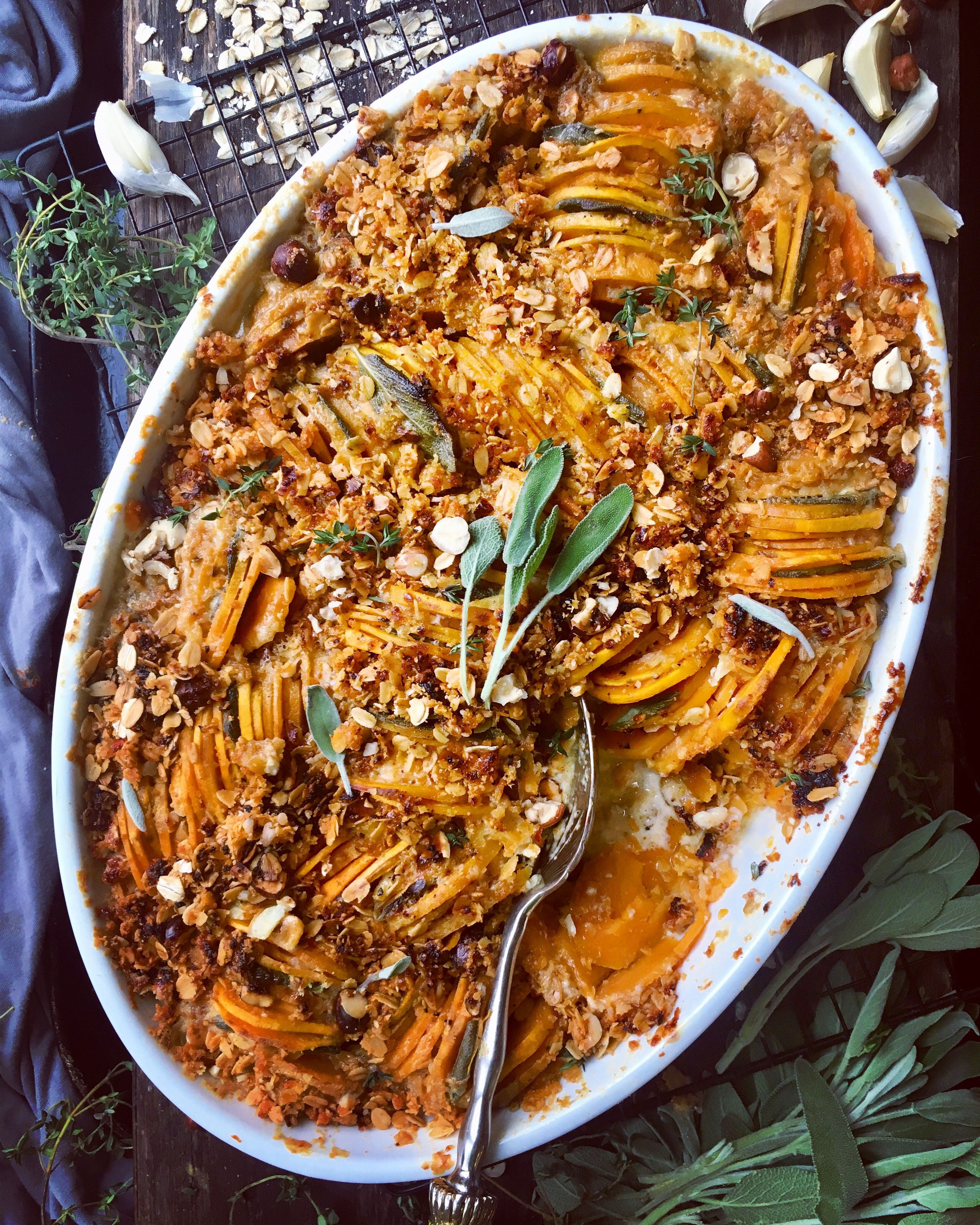 Sweet Potato Casserole with Savory Oat Crumble