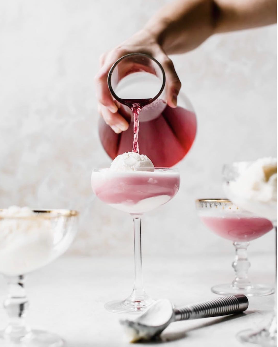 Sparkling Hibiscus Ice Cream Float