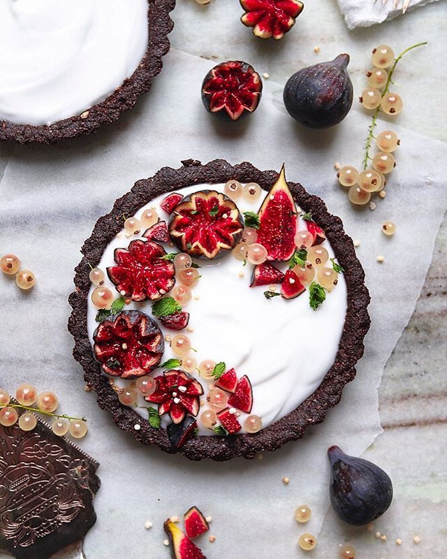 Chocolate Tarts with Coconut Yogurt and Figs