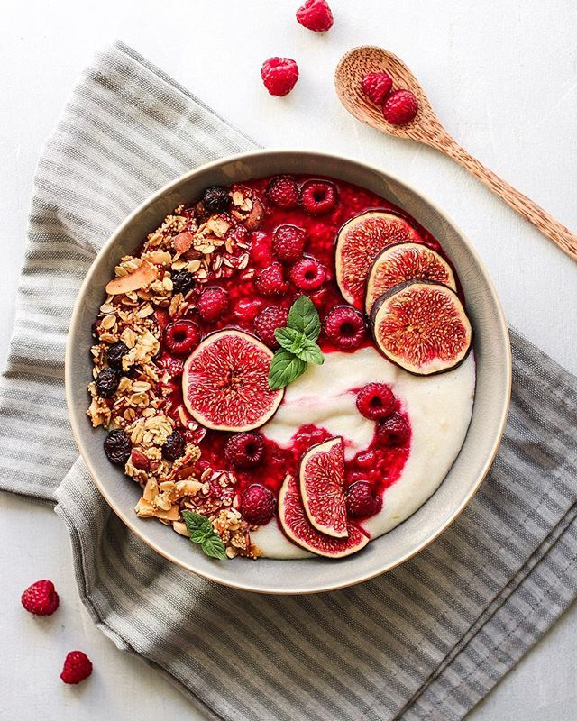 Coconut Semolina Pudding with Raspberries, Figs and Granola