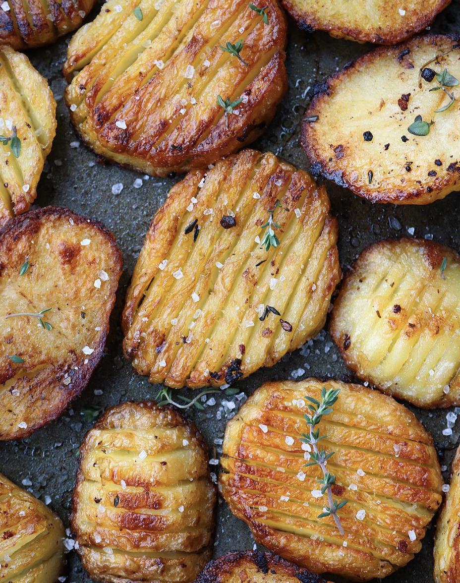 Salt and Vinegar Roasted Hasselback Potatoes