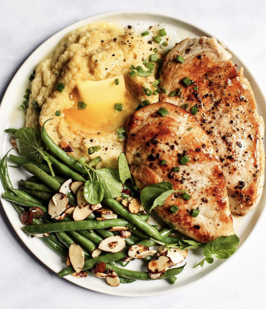 Maple Chicken with Mashed Spaghetti Squash and Toasted Almond Green Beans