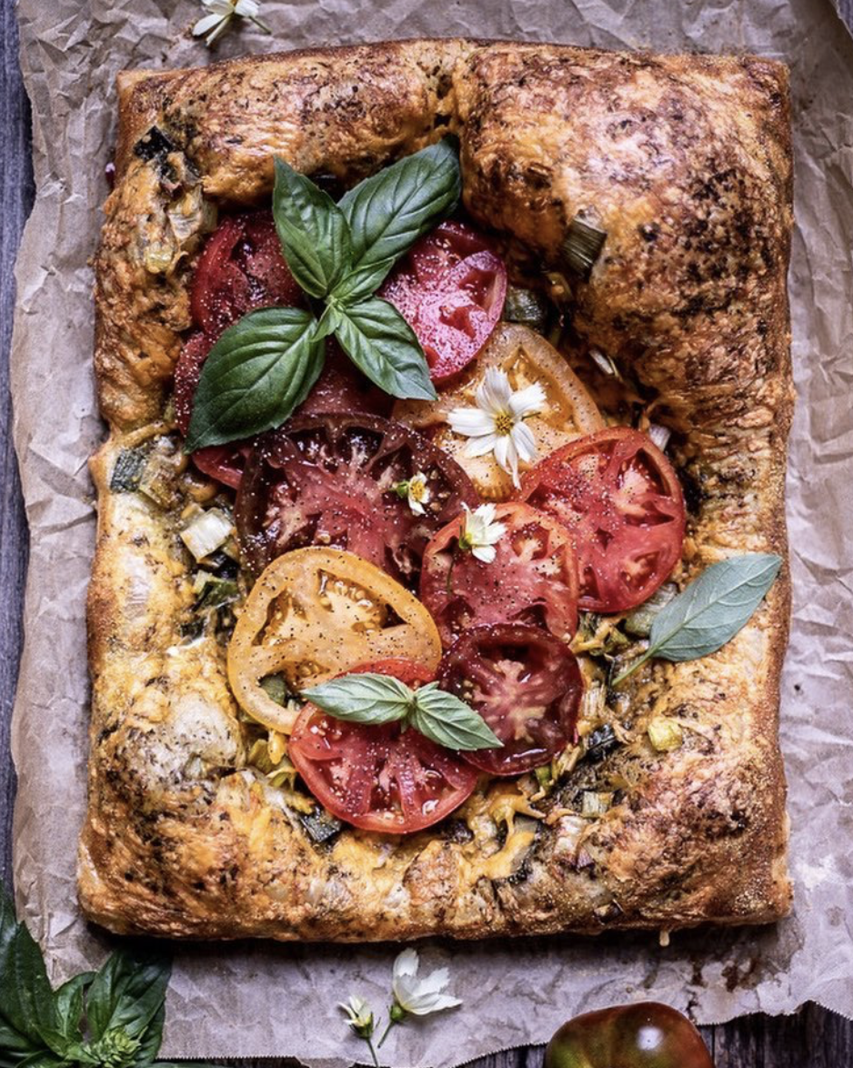 Heirloom Tomato and Leek Tart with Cheddar Cheese