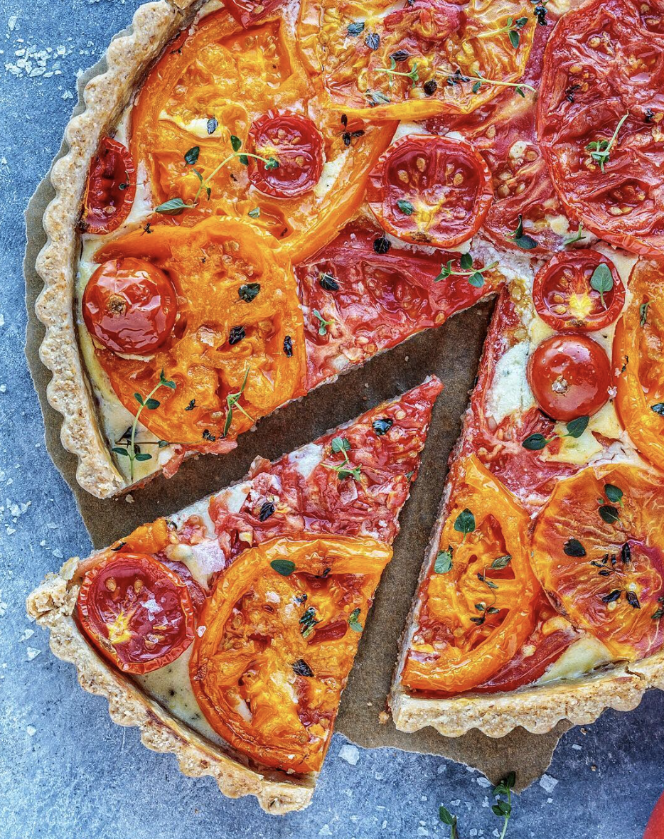 Goat Cheese Tomato Tart with Walnuts