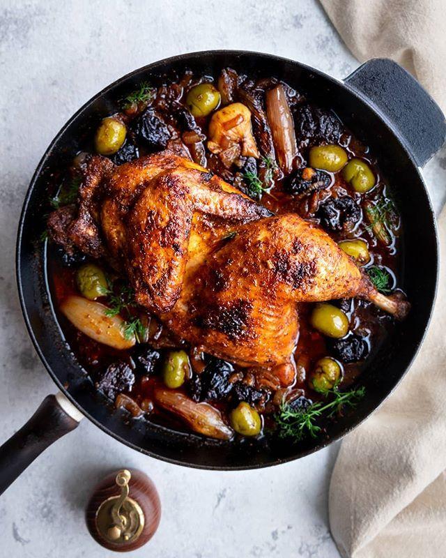 White Wine and Prunes Skillet Chicken