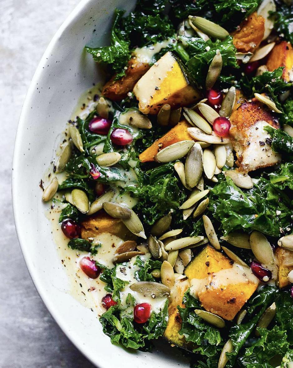 Kale and Kabocha Squash Salad with Maple Dijon Dressing