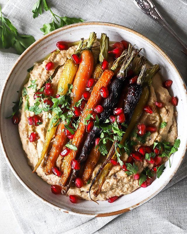 Roasted Carrots over Caramelized Onion Hummus