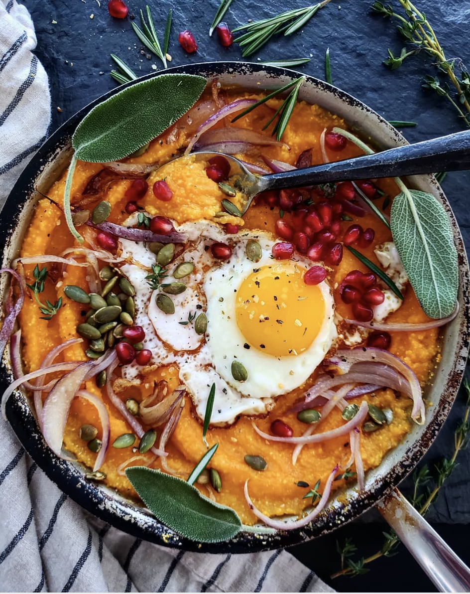 Pumpkin Polenta Topped with Fried Egg & Red Onions