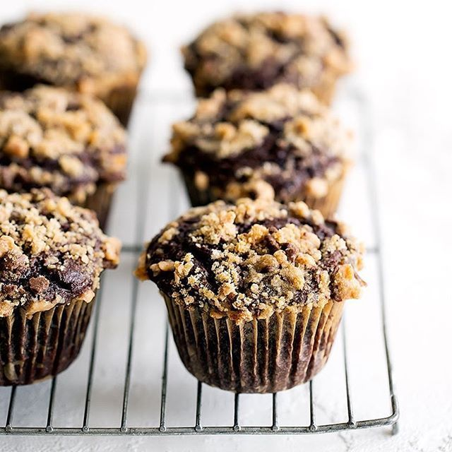 Chocolate Coffee Cake Muffins with Toffee