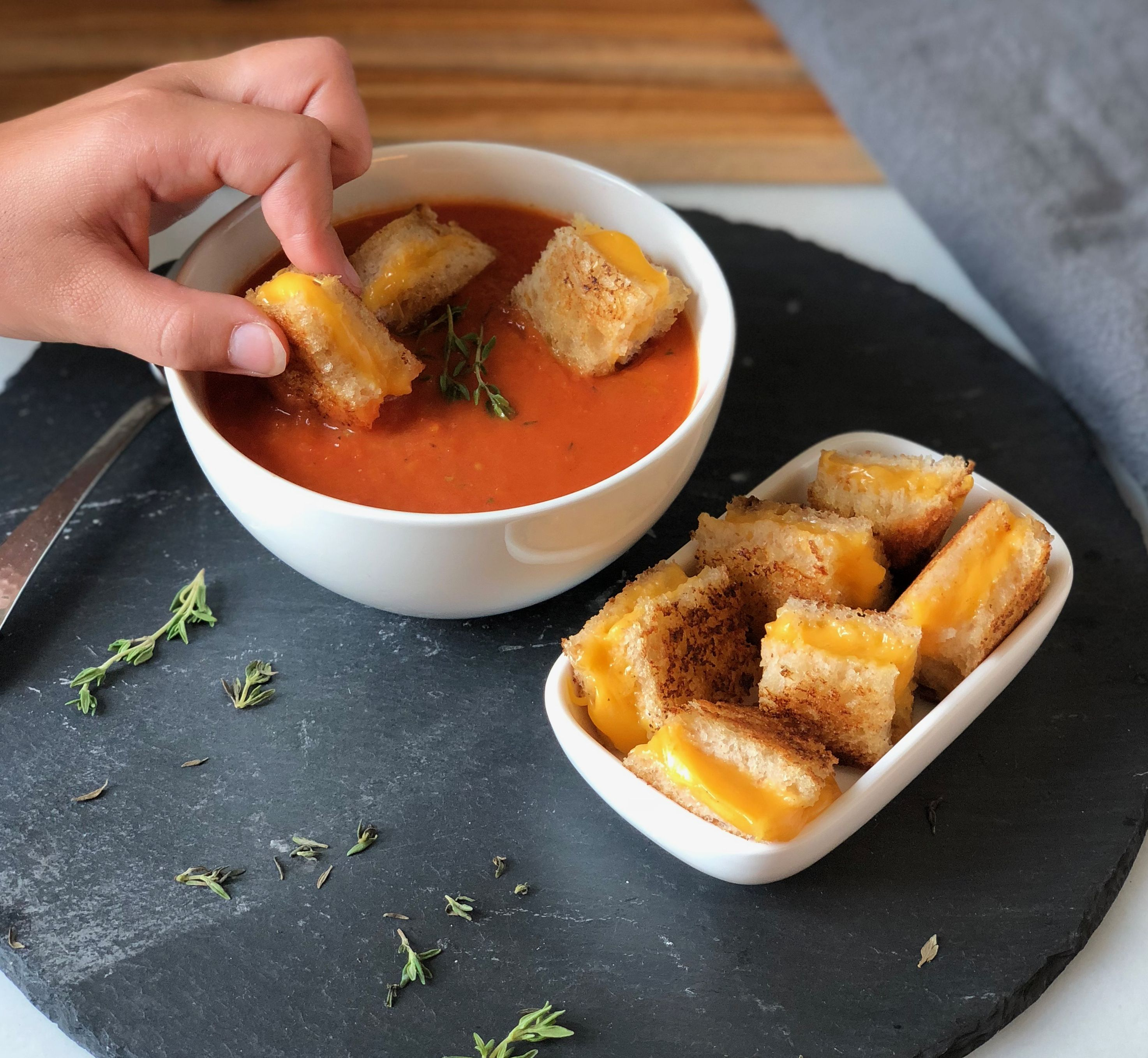 Grilled Cheese Croutons and Roasted Tomato Soup