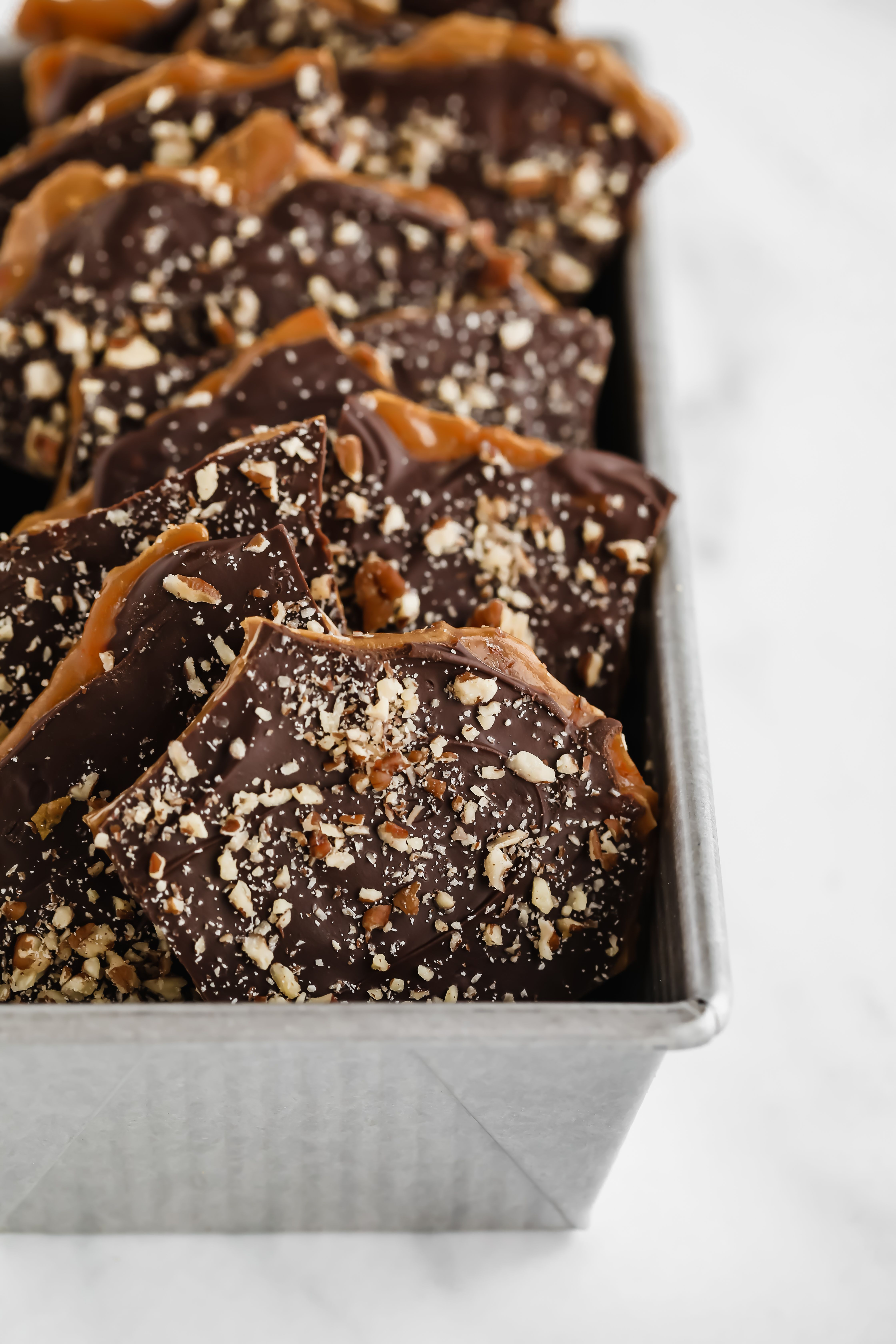 Toffee Dark Chocolate Bark with Pecan
