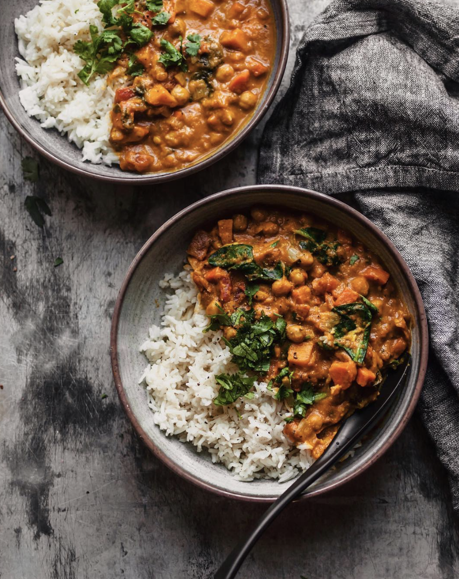 Spinach Chickpea and Pumpkin Curry