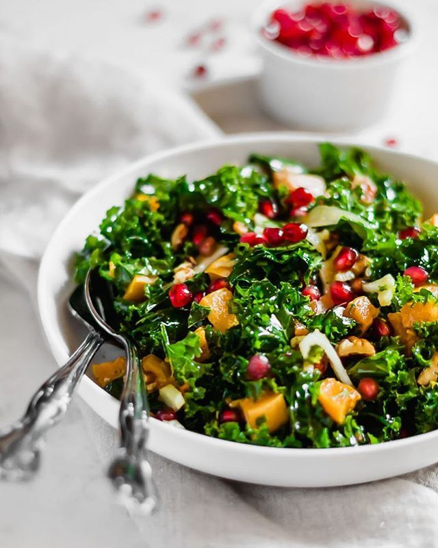 Kale Salad with Roasted Butternut Squash, Fennel, Toasted Pecans, Pomegranate Seeds