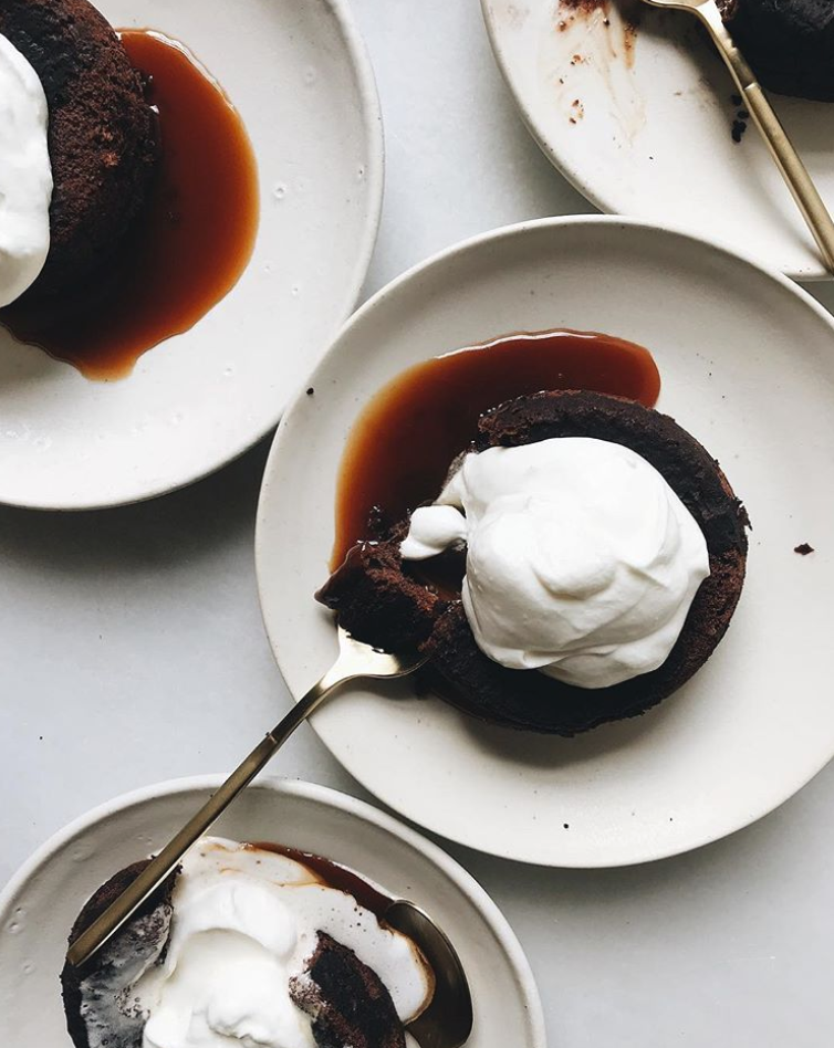 Caramel Molten Mini Chocolate Cakes