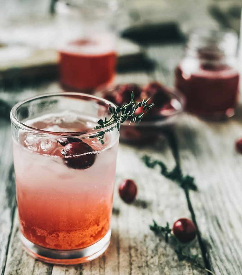 Ginger Bourbon Smash with Cranberry