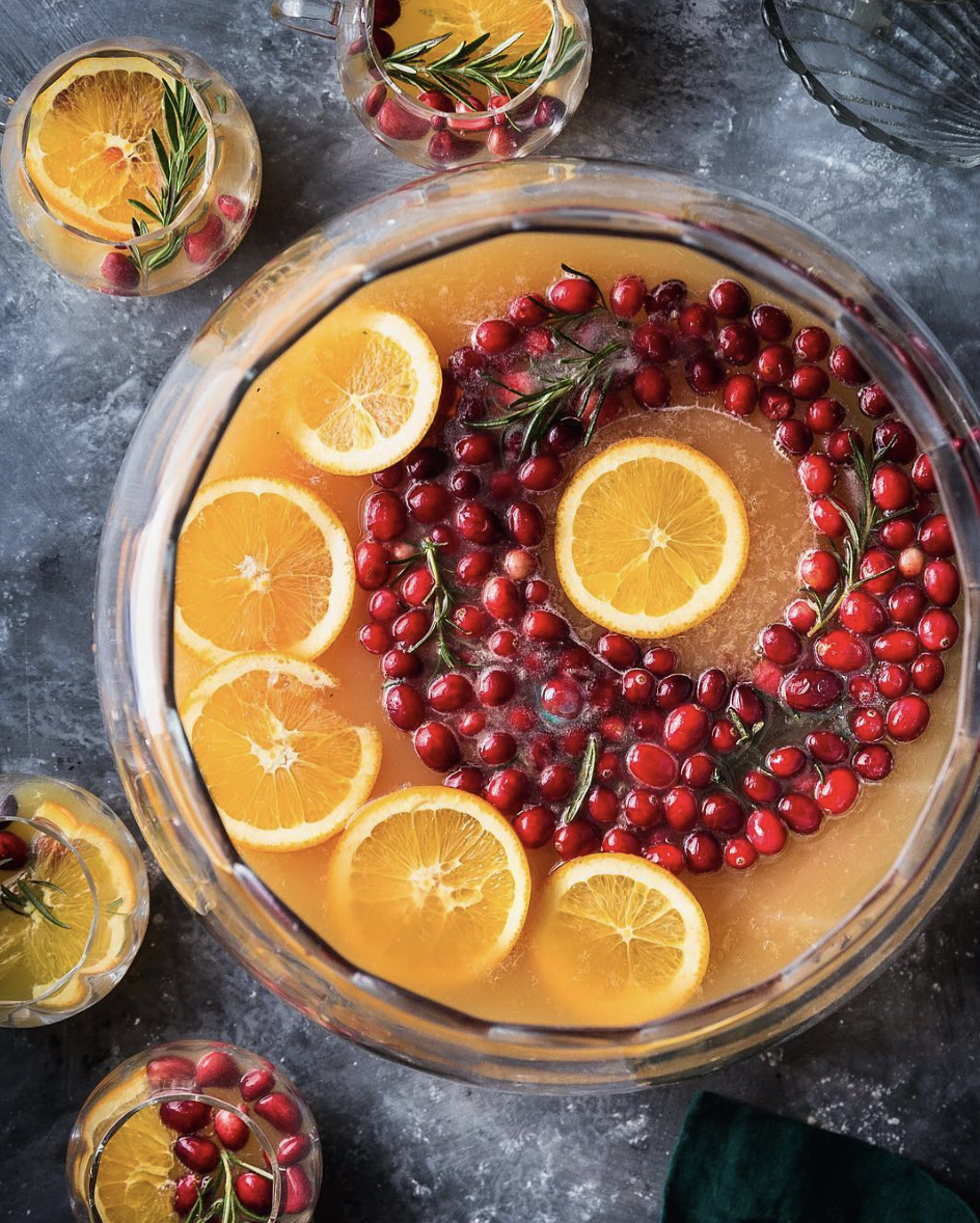 Cranberry Orange Punch with A Rosemary-Cranberry Ice Ring