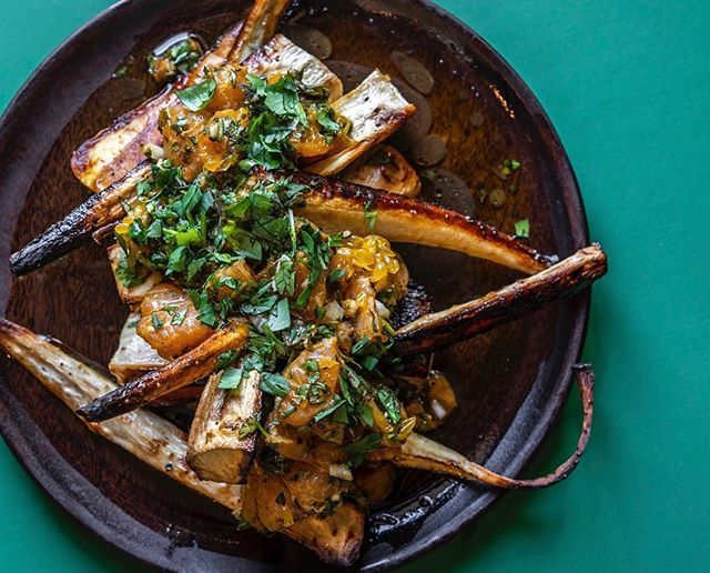 Roasted Parsnips with Mandarin Oranges and Chimichurri