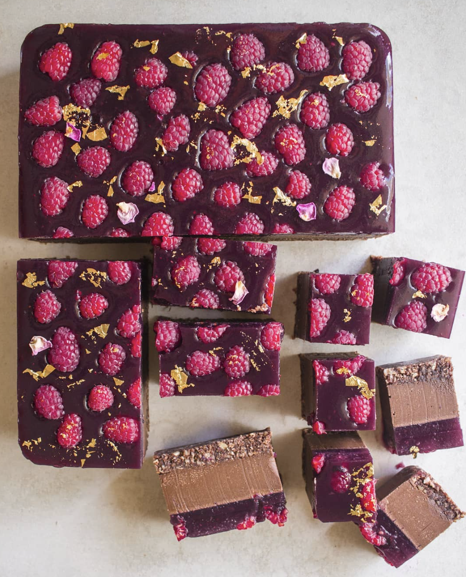 Dark Chocolate Raspberry Cheesecake Squares