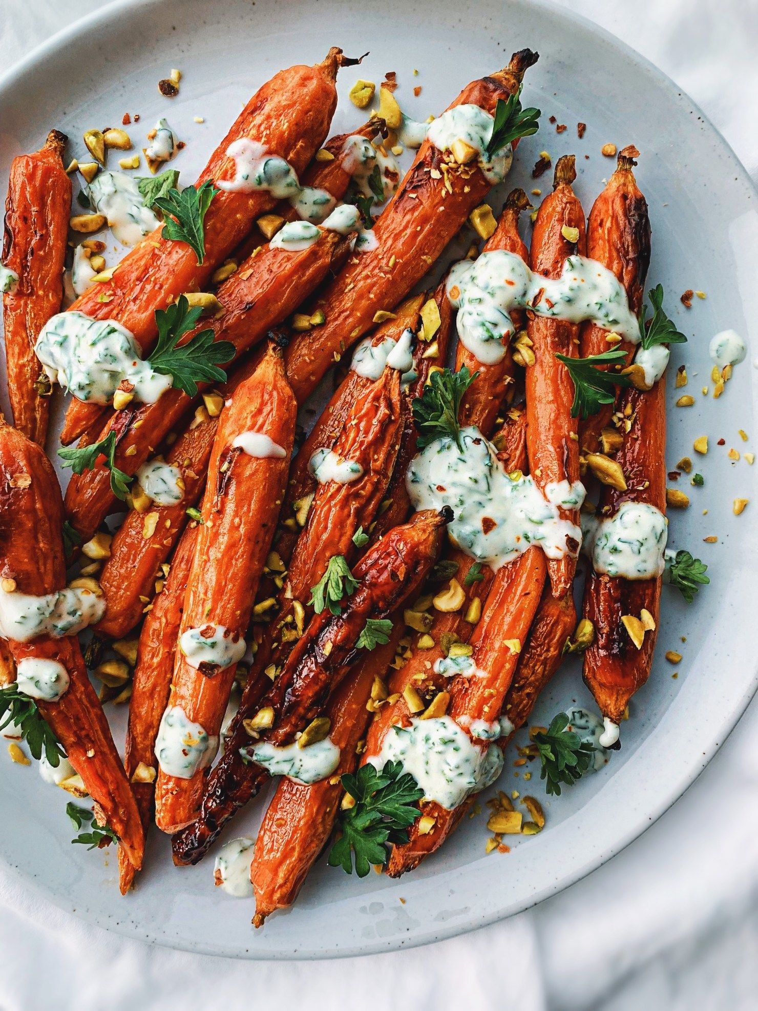 Spicy Honey Roasted Carrots With Herby Yogurt Sauce By Walderwellness Quick Easy Recipe The Feedfeed