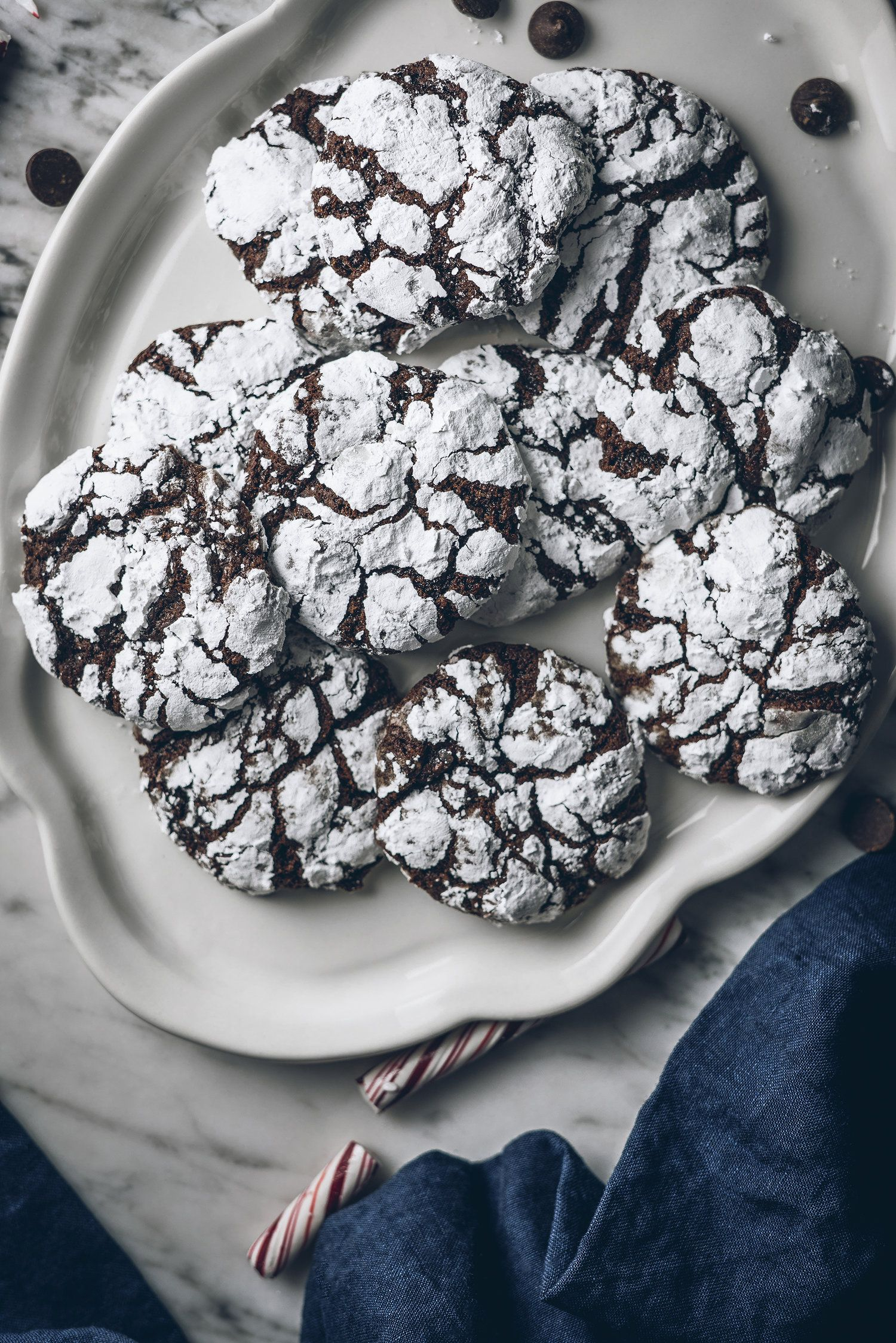 Peppermint and Dark Chocolate Crinkle Cookies