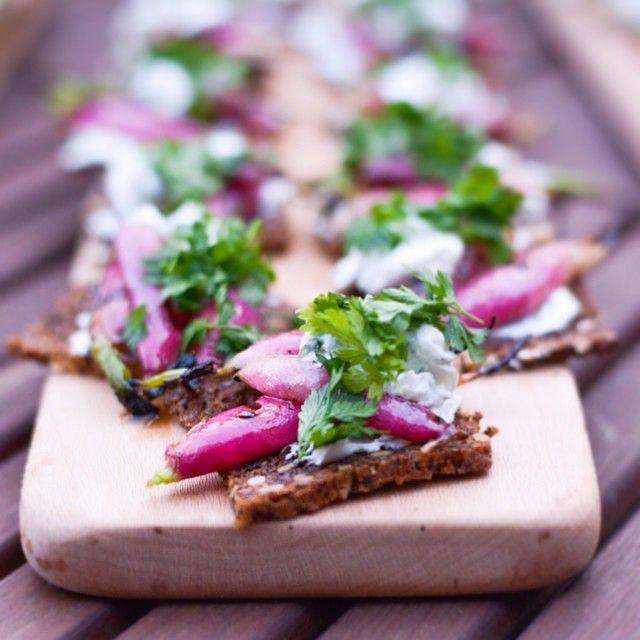 Grilled Radishes with Goats Curd & Chervil On Rye Bread