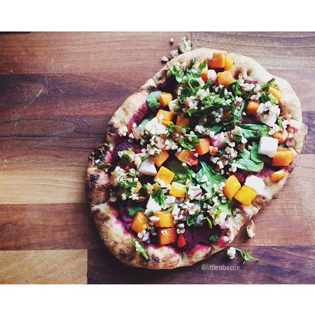 Roasted Butternut Squash with Beetroot On Feta Fire Bread