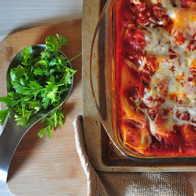 Roasted Red Pepper & Zucchini Lasagna with Homemade Red Wine Sauce