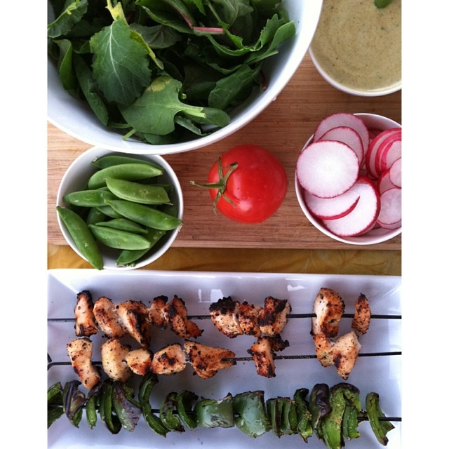 Grilled Chicken & Peppers with Lime Cilantro Dressing