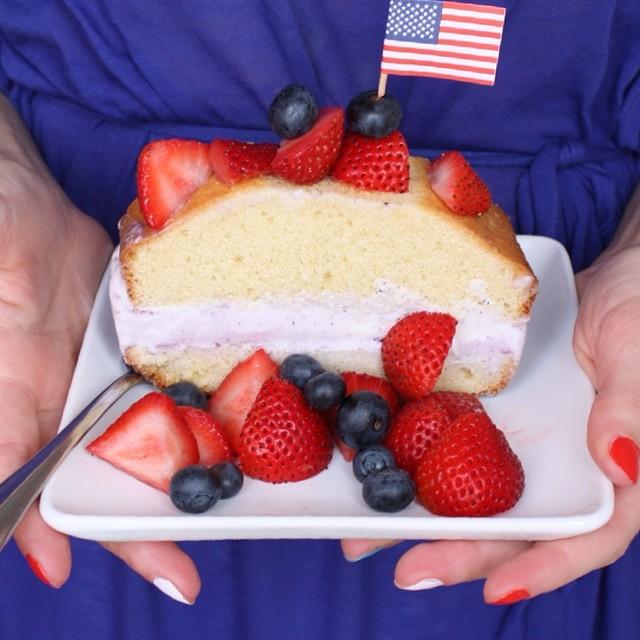 Pound Cake with Tillamook Huckleberry Ice Cream