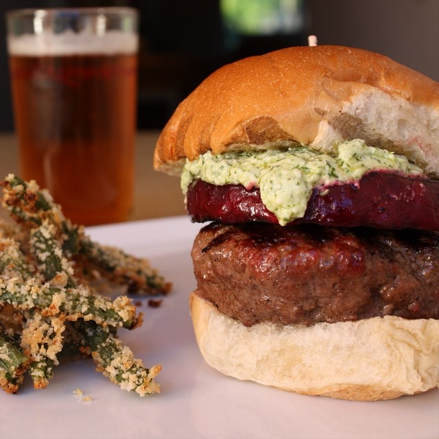 Burger with Grilled Beets, Whipped Feta & Fresh Dill