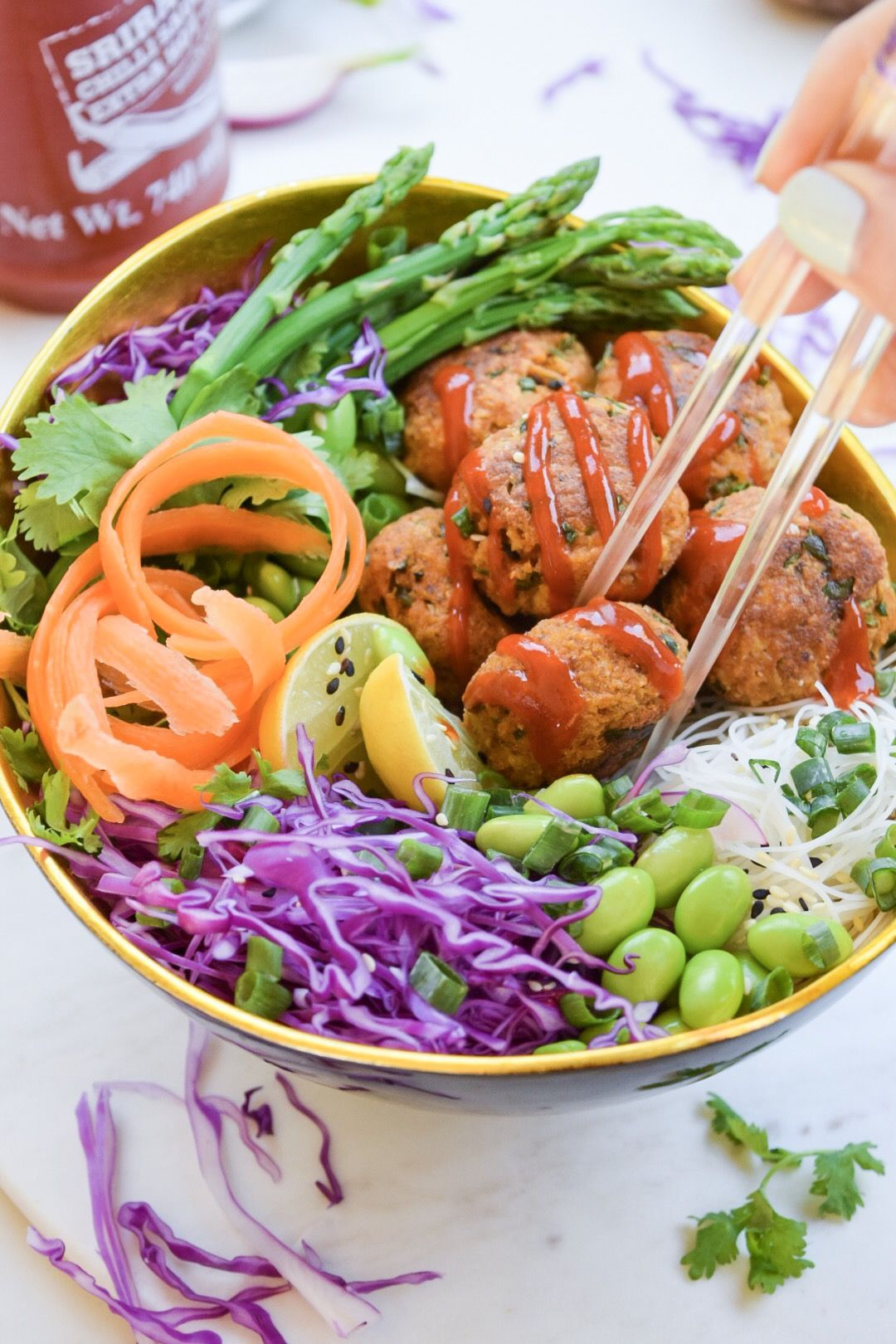 Spiced Tofu Ball Bowl with Edamame Cilantro and Red Cabbage