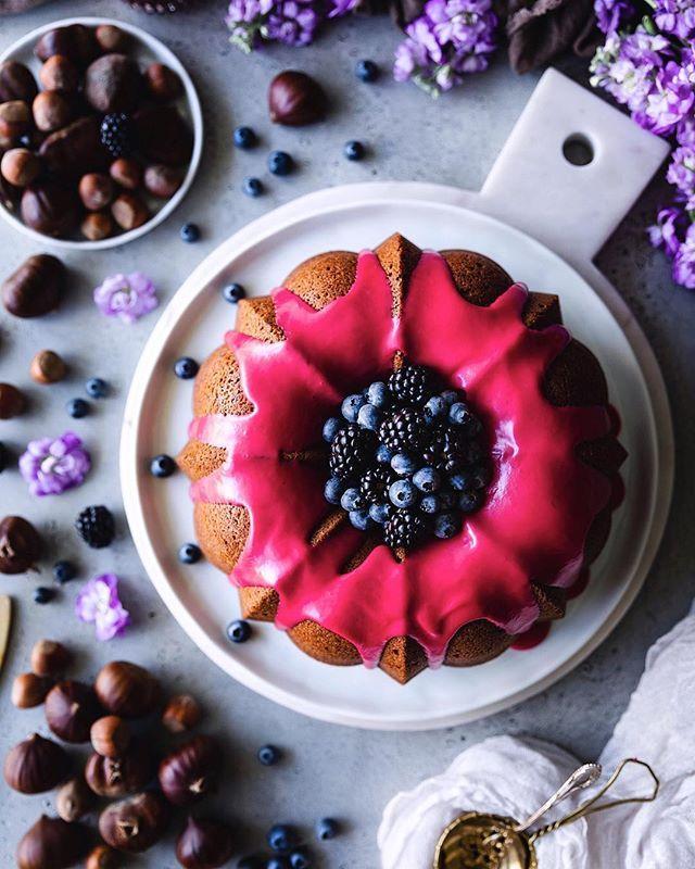 Blackberry Glazed Bundt Cake with Roasted Chestnuts