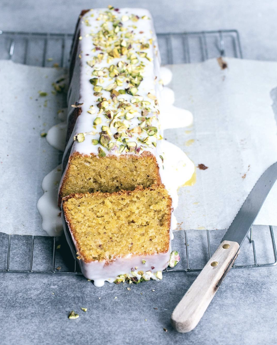 Polenta & Pistachio Cake with Lemon Glaze