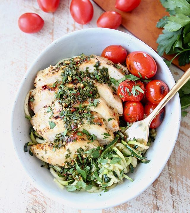Grilled Chicken with Zucchini Noodles Blistered Tomatoes and Chimichurri
