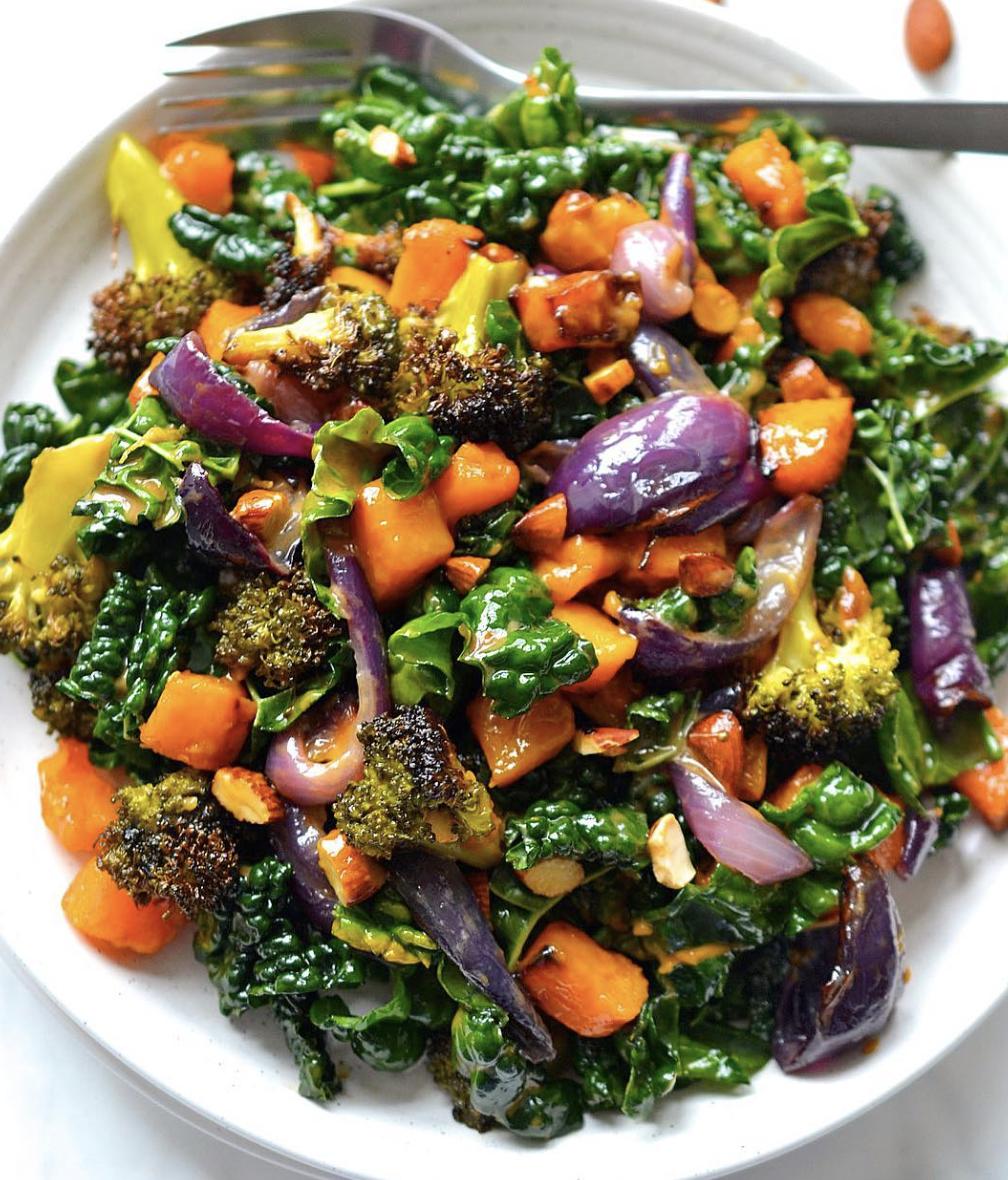 Roasted Butternut Squash, Broccoli, Red Onion & Kale in Creamy Garlic Dressing