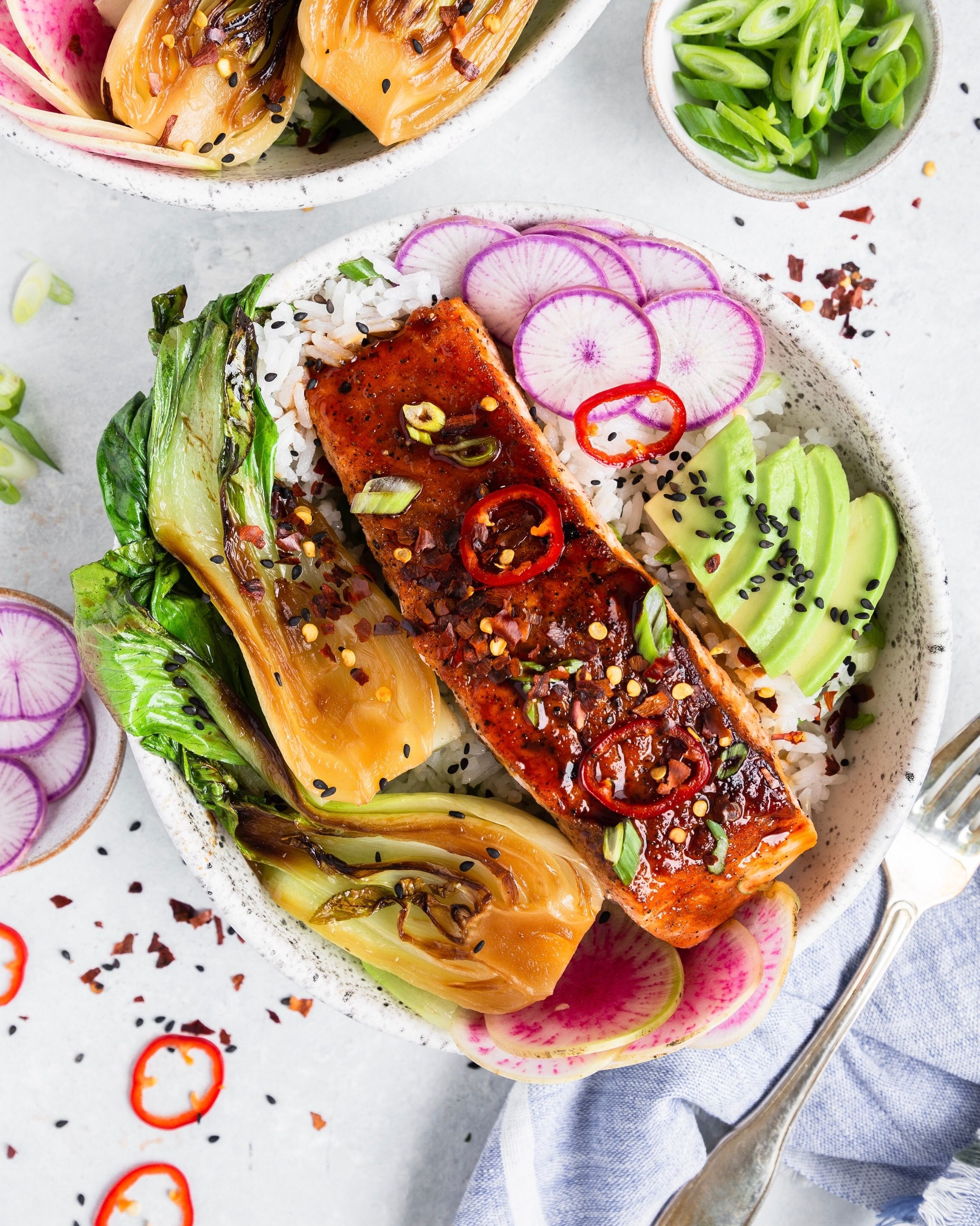 Ginger, Honey and Tamari Glazed Salmon Buddha Bowls