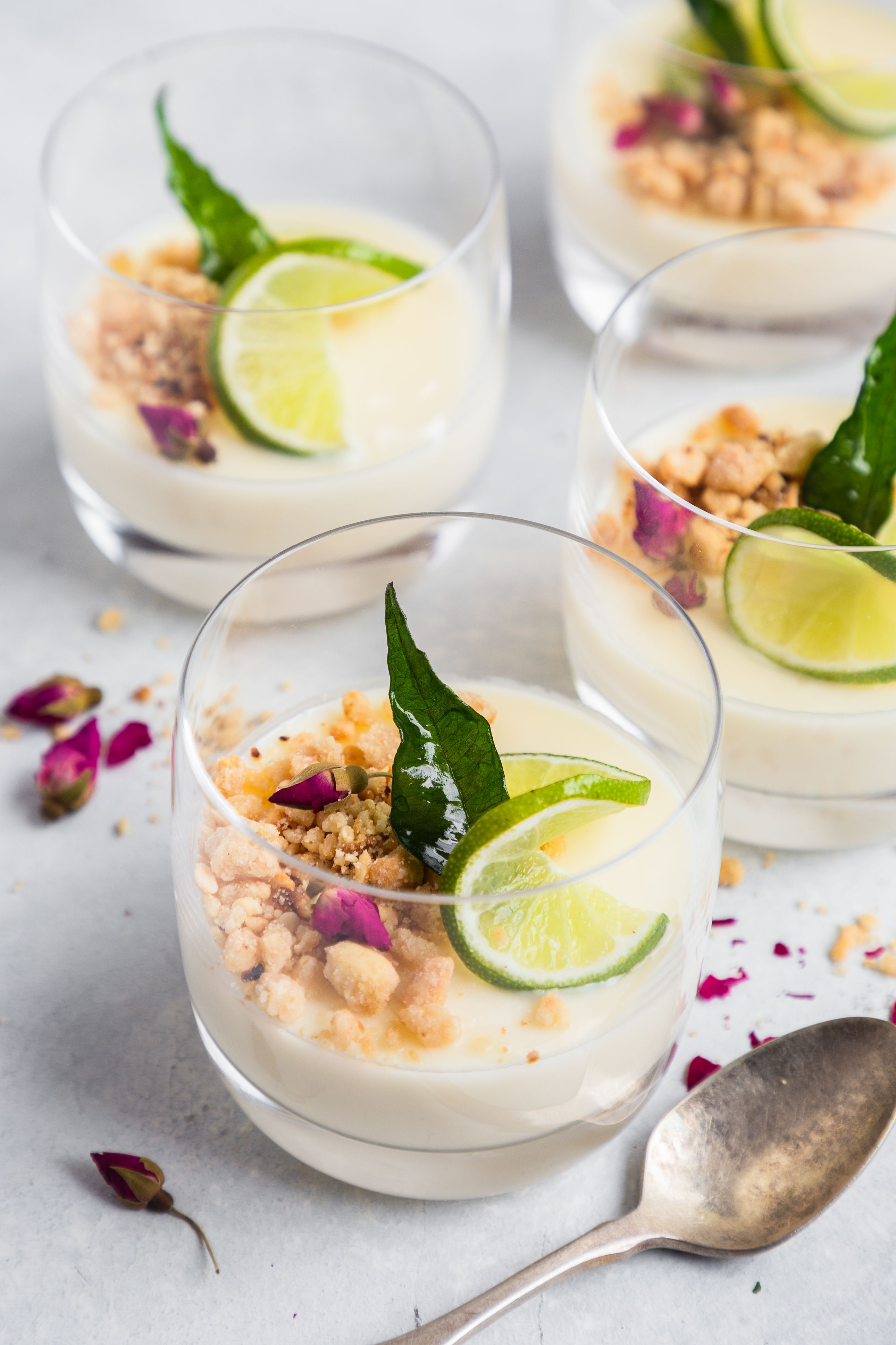 Lime and Curry Leaf Posset with Peanut Crumble