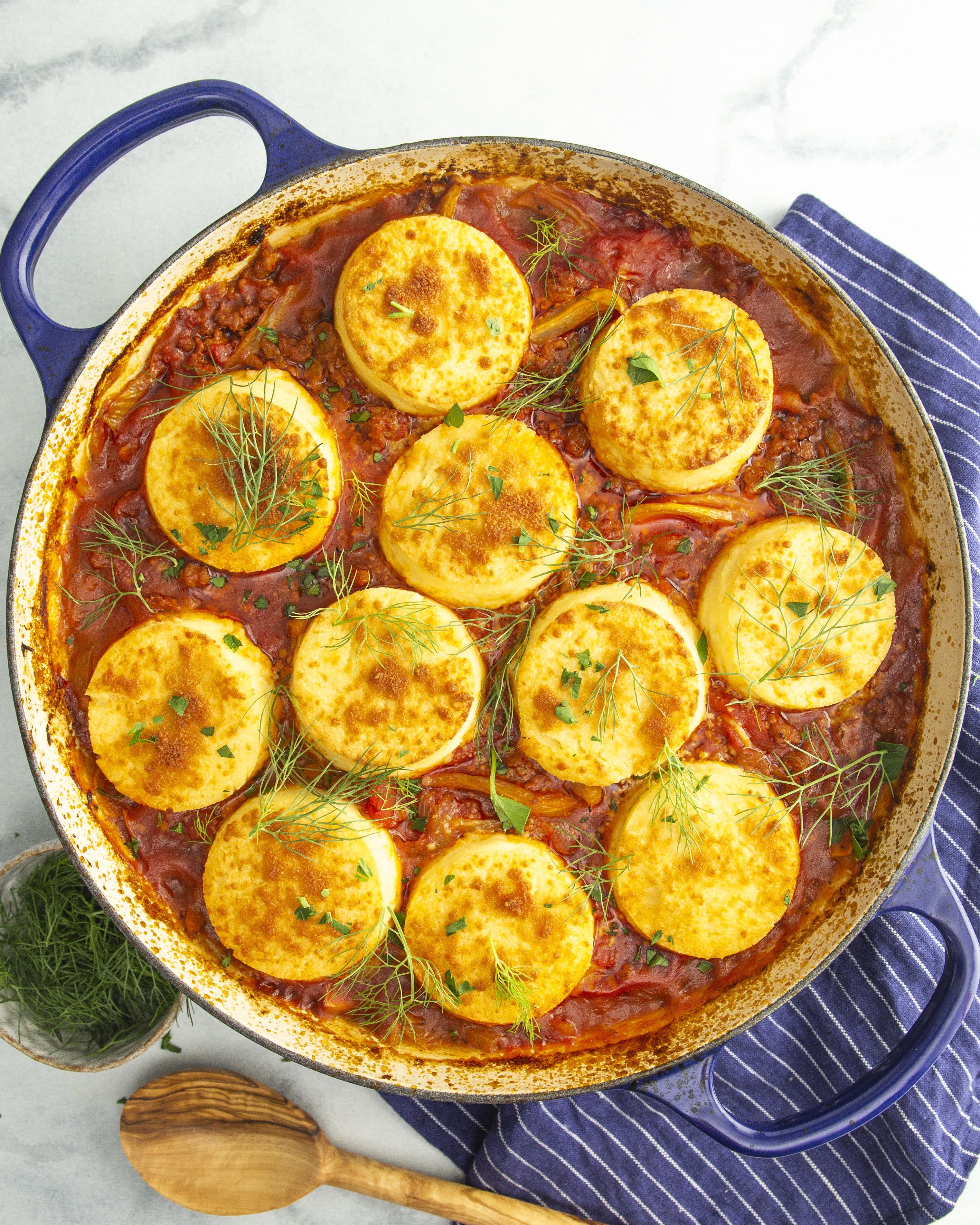 Sausage and Fennel Ragu Casserole with Gnocchi Alla Romana