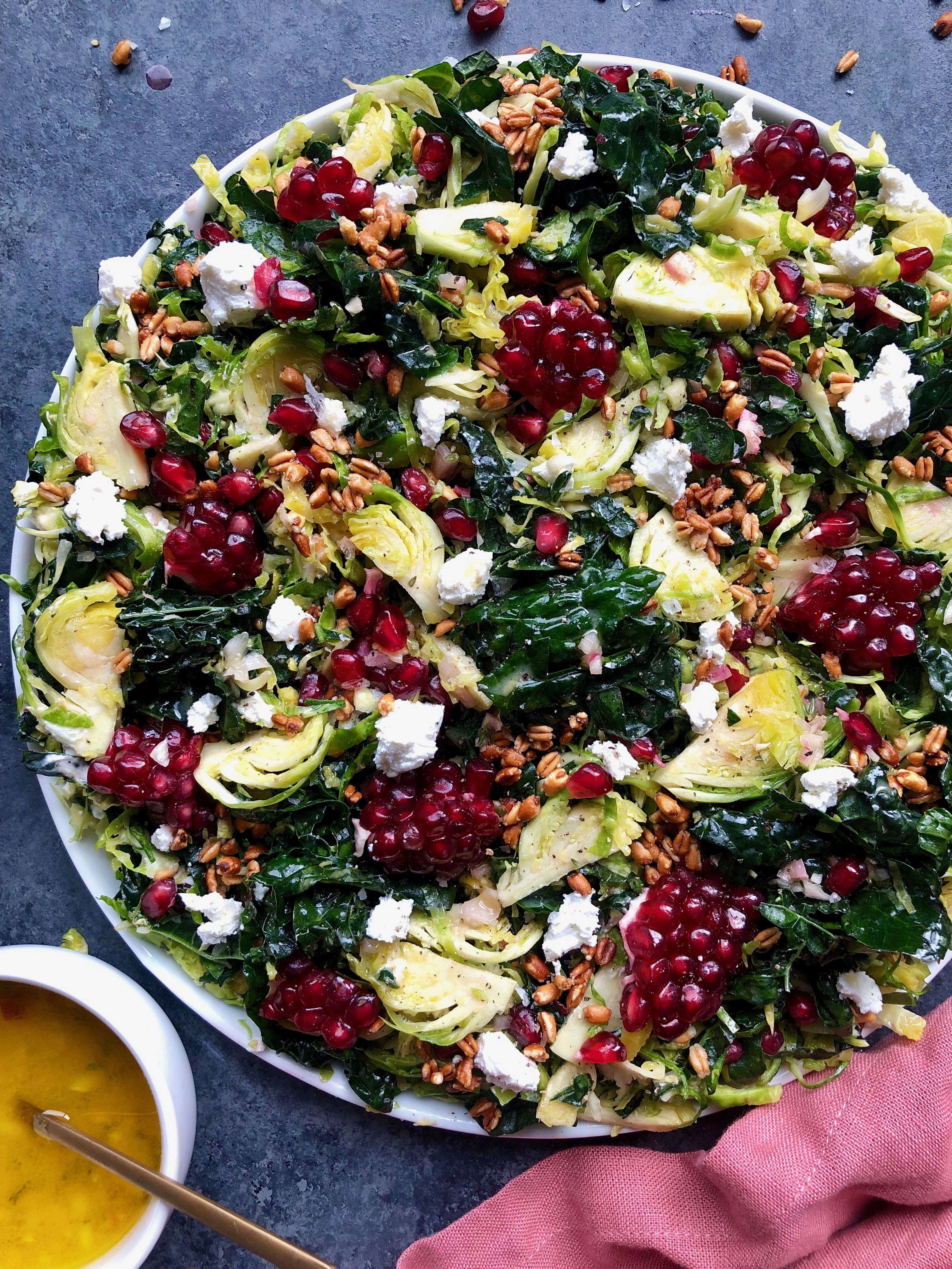 Shaved Brussels Sprouts and Kale Salad with Pomegranate and Crispy Farro