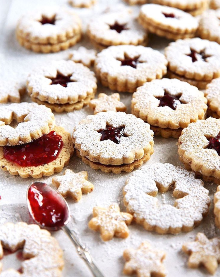 Star Linzer Raspberry Cookies