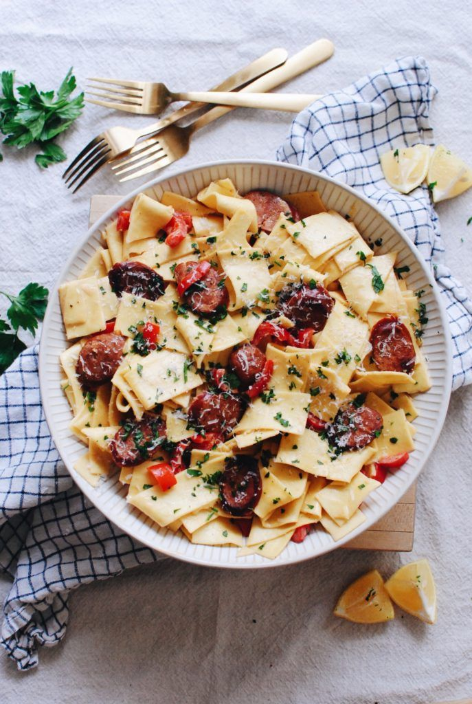 Pappardelle with Andouille Sausage and Creamy Cajun Sauce
