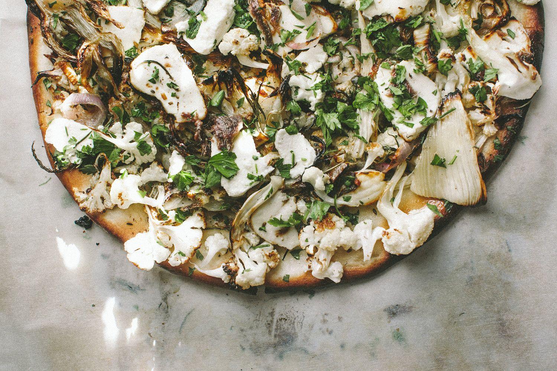 Cauliflower Fennel and Ricotta White pizza