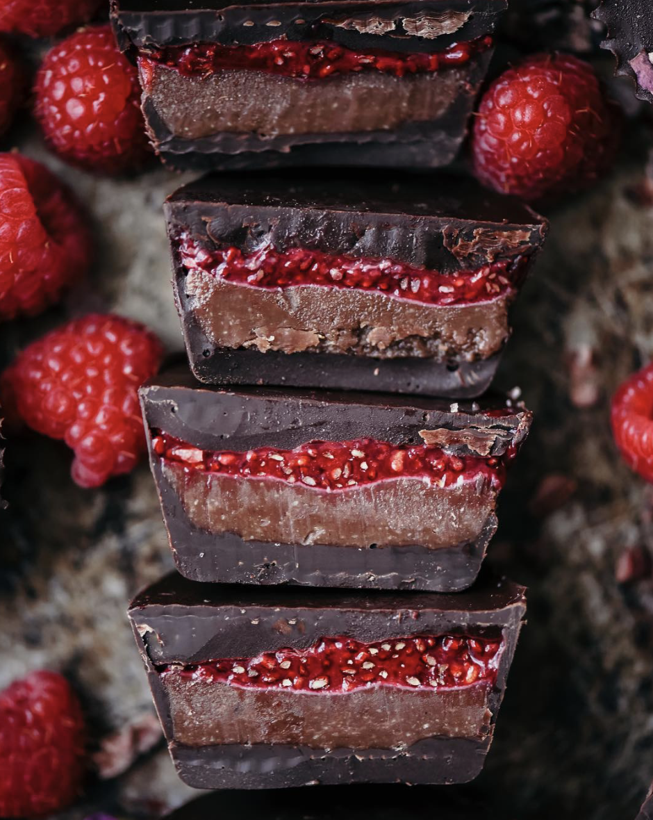 Raspberry Chia Chocolate Cashew Butter Cups