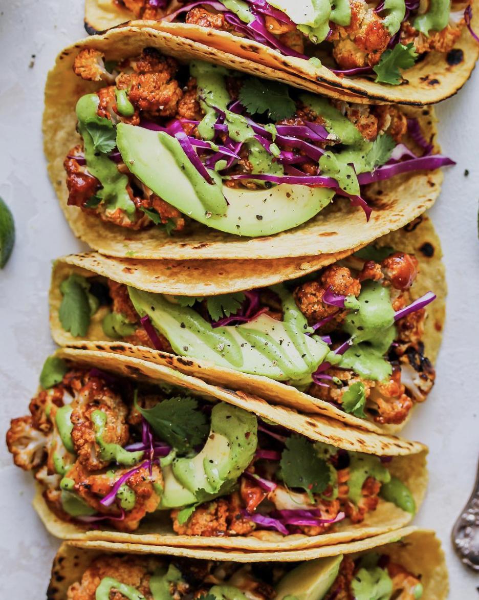 Roasted BBQ Cauliflower Tacos with Green Tahini