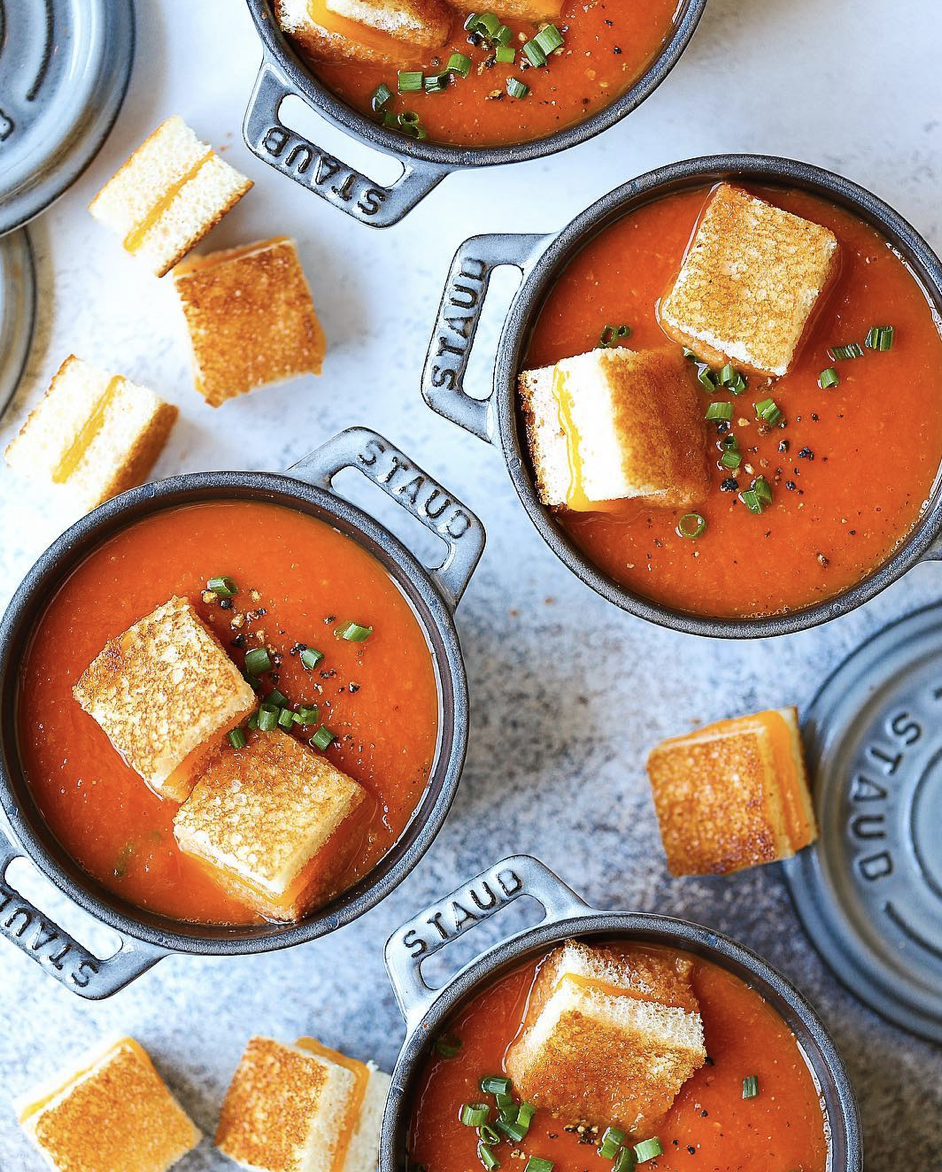 Tomato Soup with Mini Grilled Cheese Bites