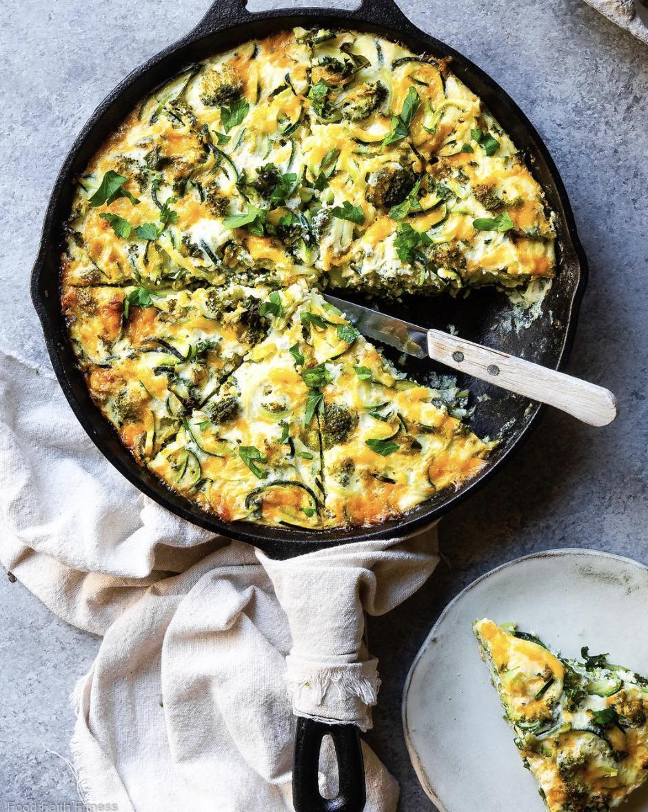 Cheesy Broccoli Kale And Zucchini Frittata By Foodfaithfit Quick Easy Recipe The Feedfeed