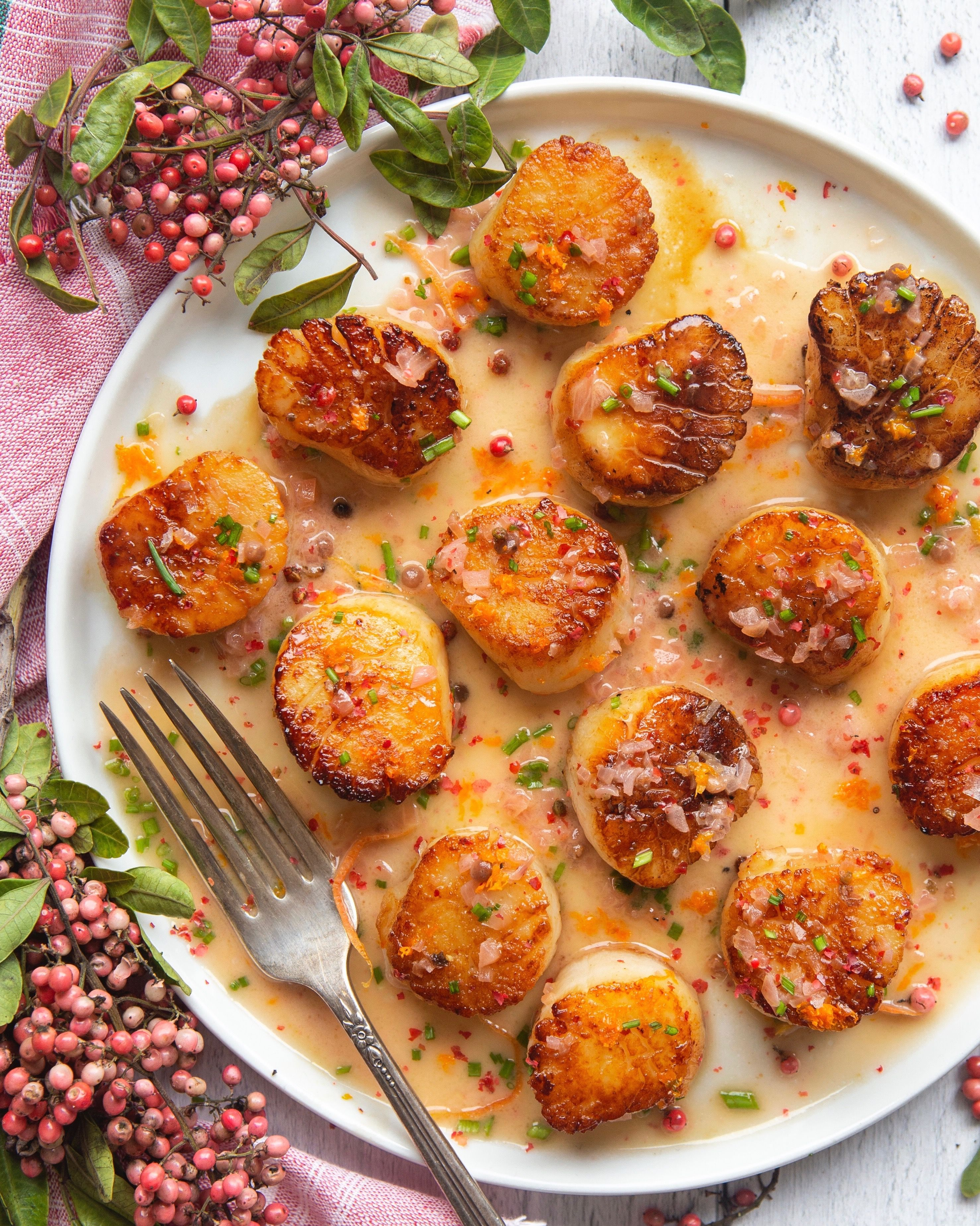 Rosé and Pink Peppercorn Scallops