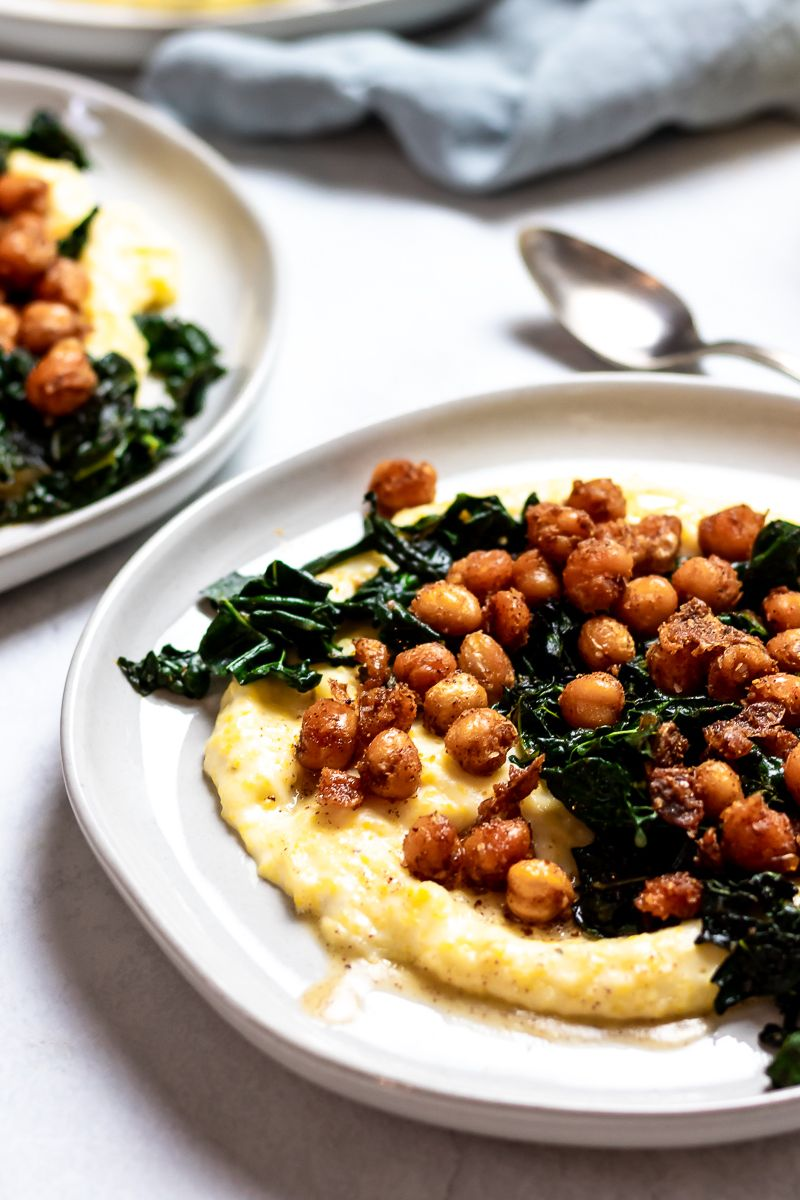 Brown Butter Spiced Chickpeas with Kale and Polenta